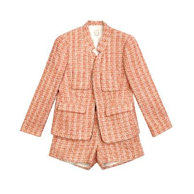 none button tweed jacket & tweed short pants